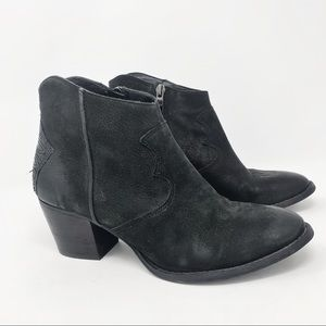 Marc Fisher Black Leather Ankle Booties Sz 6.5